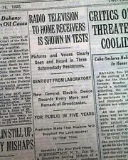 Old Radio Television Tv Tests General Electric Visual Invention 1928 Newspaper