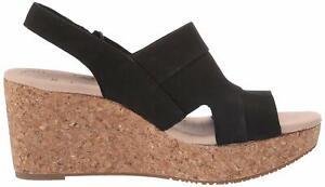 Clarks Womens Annadel Ivory Open Toe Casual Platform, Black Nubuck, Size 8.5 7Z0