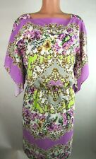 Maggy London Women's Sz 8 Purple/White Floral Dress Slit Sleeves