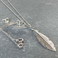 925 Sterling Silver Feather Necklace & Earrings Set Gift Boxed Present