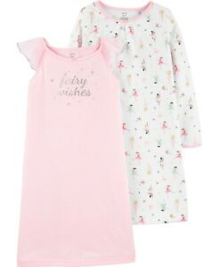 New Toddler Girl Carter/'s 2 Pack Flamingo Nightgowns 3 4 5