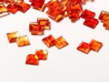 Lot (170) 11mm vintage Czech overlapping double square orange glass rhinestones