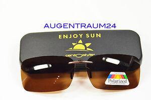 Sonnenclip für Change me Brillen Polarisierend Braun Clip On Neu Geschenkidee