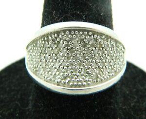 Estate Fresh EA .925 Sterling Silver Pave Diamond Ring Size 6.75