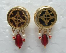 Vintage Indian Theva Thewa Work Gold Silver Amulet Erring Pair Tribal Jewelry 10