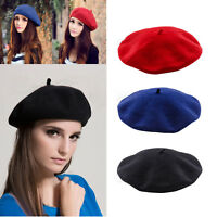 fd78c3a8d0e28 Womens Ladies Plain Beret Hat Soft Wool French Beret Winter Warm Girls Hats  Caps