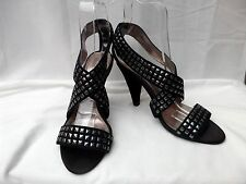 "FAITH UK 4 Black suede leather stud strappy shoes 3"" slim heels VGC"