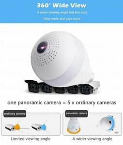 360°Wide Angle Fisheye WiFi IP Hidden Camera Bulb LED Lights Indoor Spy Security