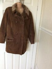 Ladies Genuine Suede  Acrylic Fur Lining Size Med Good Cond Hols 21/4 To 30/4