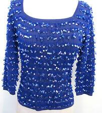 Joseph A. Blue Sequin Sparkle 3/4 Sleeve Knit Top Shirt Misses Size S