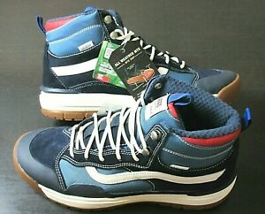 Vans Men's UltraRange Exo Hi MTE Boots Navy Blue Red White Striped Size 7.5 NEW