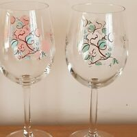Two Floral Wine Glasses - Good Condition - One is a Chef & Sommelier