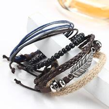 Mens Boys Handmade Leather Braided Surfer Wristband Bracelet Bangle Wrap New
