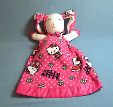 """Hello Kitty Large 24"""" Plush Pink Bunny Baby Security Blanket Satin Trim Lovey"""