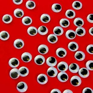 100 X 10mm WIBBLY WOBBLY GOOGLY EYES. CRAFTS, STICKERS SELF ADHESIVE lots more!