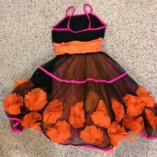 Girls Dance Costume Size AME Tango Orange Flowers Curtain Call Costumes