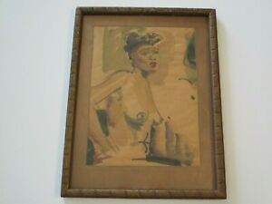 RUTH OSGOOD PAINTING BLACK AMERICANA NUDE WOMAN WOMEN MODEL FEMALE 1940'S LISTED