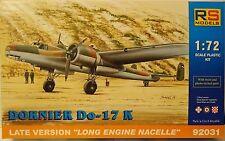 Dornier Do-17K tarda versione, RS Models , 1:72 , Plastica , NUOVO