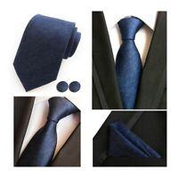 Tie Pocket Square Cufflinks Set Blue Navy Handmade 100% Silk
