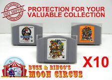 10X NINTENDO N64 JAPAN IMPORT CARTRIDGE -CLEAR PLASTIC PROTECTIVE BOX PROTECTOR