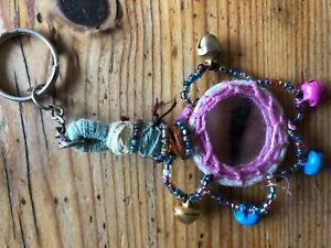 Mirror Bell Tribal keyring bag charm decor ethnic hippy boho Indian key rings