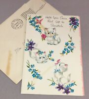 Vintage Get Well Greeting Card Kittens + Flowers Art Guild of Williamsburg Used