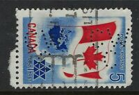 Perfin C46-CW/C: 1967 5c Confederation Centennial 453-2 Canadian Westinghouse Co