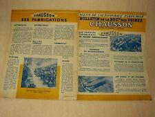 Prospectus CHAUSSON ASNIERES Accessoires Auto Camion Brochure Prospekt Car Truck