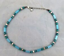 "NECKLACE - BLUE & SILVER FASHION JEWELRY - THIN STRAND-SIMPLE & BRIGHT 17.5"" L"