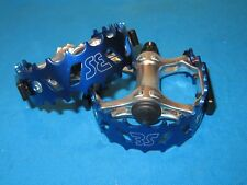"SE Bikes BMX Blue Bear Trap Pedals 9/16"" Set with Reflectors - New"