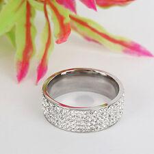 Unisex CZ Stainless Steel Ring Men/Women's Wedding Band Rings Gold Silver 8-10 N
