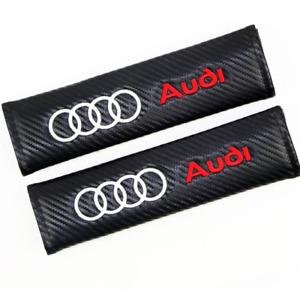 2 x Carbon Fibre Looking Audi Logo Seatbelt Cover Pads for Audi A3 A4 A5 TT RS