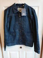 Rare $298 LEVIS Made & Crafted Dark Blue Denim Embroidery Men's Trucker Jacket M