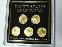 United States Gold Vault Set 2012 $5 American Gold Eagles 1/10 oz Each 5 Coins