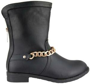 Damen Schlupf Boots Stiefeletten mit Kette  leicht gefüttert