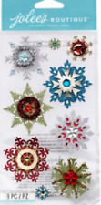 WINTER Snowflakes Snow Flakes Glitter Crystals Embellished Jolee's Stickers