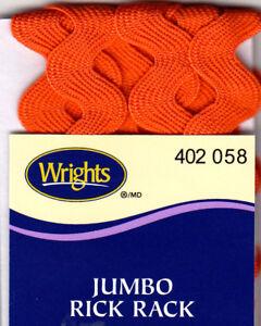"WRIGHTS CARROT (ORANGE) (058) JUMBO RICK RACK-2 1/2 YARDS (5/8"" WIDE)TRIM"