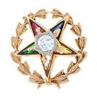 Order Eastern Star Pin 10k Gold Masonic Ladies Synthetic Gemstones Diamond .38ct