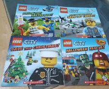 4 SCHOLASTIC PAPERBACK BOOKS LEGO XMAS, HALLOWEEN, EASTER AND PLANE CARGO
