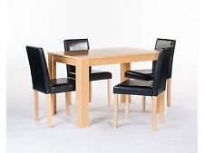 Cambridge Contemporary Style Oak Finish Table With 4 Black Faux Leather Chairs