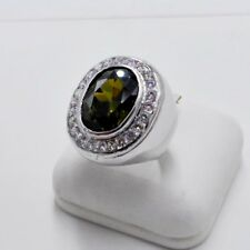 MEN RING GREEN PERIDOT SYN 18K WHITE GOLD FILLED GP SOLITAIRE BISHOP POPE SIZE 9