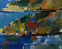 "JOSE TRUJILLO - OIL PAINTING 8X10"" Impressionism MODERN MEDITERRANEAN SEA SIGNED"