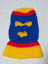 Vintage 70s 80s Knit Ski Mask Robber Mask red blue Yellow