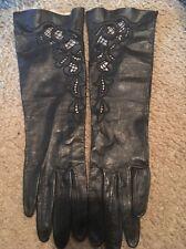 Long Leather Black Gloves