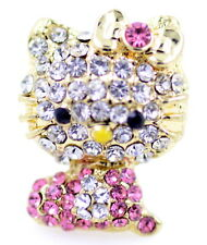 Sparkly cute cat ring, with pink and clear stones. Adjustable size