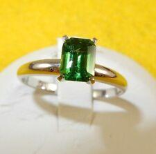 14k white gold solitaire .89 carat emerald cut green Tsavorite Garnet