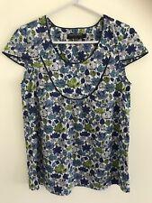 💜 SPORTSCRAFT LIBERTY Women's Green Blue White Floral Blouse Shirt Sz 6 Xs Xxs