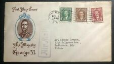 1937 Montreal Canada first day cover to Baltimore Usa Kgvi Coronation Cachet Fdc