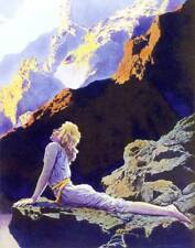 Lady on Cliff  Mountains by Maxfield Parrish