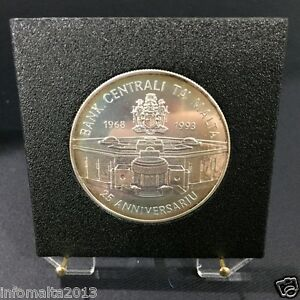 1993 Malta 25th Anniversary Central Bank Of Malta Silver Proof Coin Box #0565